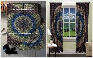 Indian Mandala Duvet Doona Cover with Tapestry & Curtains Set + Pillow 5 PCs Set