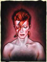 Ziggy Stardust David Bowie Original Oil Painting on Black Velvet J253x