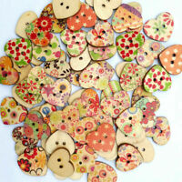 25× Heart Shaped Mixed Flower Painted 2 Holes Wooden Tool Craft Buttons T3S B6U2
