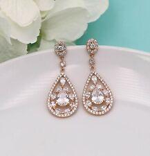 Rose gold crystal drop bridal earrings