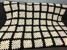 "VTG Granny Square Afghan Afgan Throw Blanket 43"" x 58""  Brown Tan"