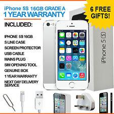 Apple iPhone 5s - 16 GB - Silver White Sim Free Unlocked 4G - Grade A
