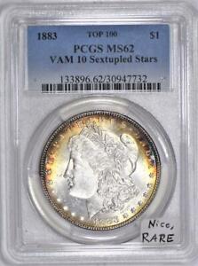 1883 VAM-10 Sextupled Stars Morgan Dollar PCGS MS-62; Top 100; Nice, RARE!