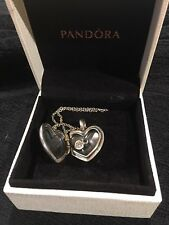 Authentic Pandora heart locket with zircon stone
