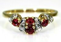 Natural Ruby & Diamond half eternity 9ct Yellow Gold Enhancer Ring size L 1/2 ~6