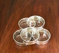 ~ (5) TIFFANY STERLING SILVER & CUT GLASS COASTERS NO MONOGRAM