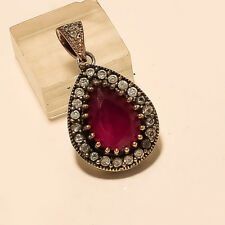 Natural Burmese Ruby Pendant 925 Sterling Silver Two Tone Christmas Jewelry Gift
