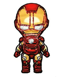 """Ironman Patch Sequin Cloth Glue/Sew On Applique 7.87"""" X 3.94"""" Marvel Avengers"""