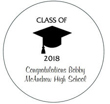 24 Personalized Class of 2018 Graduation Stickers Party Favors