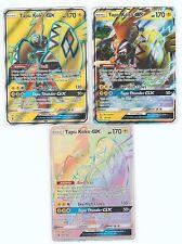 3x Lot Pokemon Sm Guardians Rising Gx Full Art Secret Tapu Koko 153/145 135 47 #