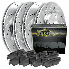 Fit 2003-2007 Honda Accord HartBrakes Full Kit Brake Rotors+Ceramic Brake Pads