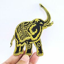 Embroidered Iron On Patch Elephant Yellow Black Fabric Accessories Craft DIY