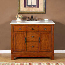 42-inch Single Sink Bathroom Vanity Cabinet Marble Top Bath Furniture 0911CM