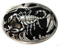 ✖ SCORPION Belt Buckle ✖ Metal Satin nickel/Brushed Silver black color US seller