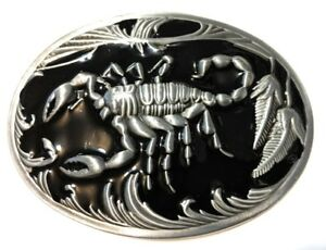 ✖ SCORPION Belt Buckle ✖ Metal Satin nickel/Brushed Silver black color US seller