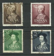 España, 1951/2, Isabel y Fernando, lote de 4 sellos