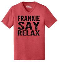 Mens Frankie Say Relax Funny 80's Music Shirt Triblend V-Neck Hollywood 80s
