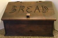VINTAGE SOLID WOOD OUR DAILY BREAD Bread Box