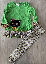 Bonnie Jean Girls Green Cat Appliqued Halloween Outfit Legging Set 5 Fall