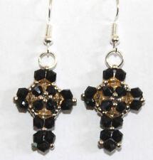 black hand beaded Cross bead earrings
