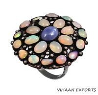 925 STERLING SILVER NATURAL ETHIOPIAN OPAL TANZANITE DIAMOND VICTORIAN RING