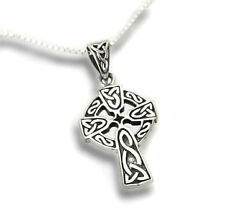 "Celtic Knot Sun Cross Sterling Silver Pendant with 18"" Necklace"