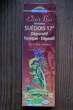 Veritable Elixir Suedois 17° Bio selon Maria Treben, 59 plantes 375ml -Biofloral
