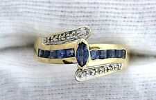 10Kt REAL Yellow Gold Blue Sapphire & Diamond Gem Gemstone Ladies Ring Size 7.75