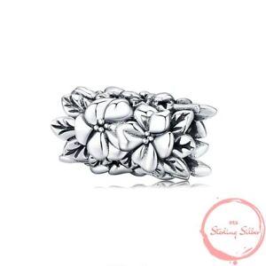 Charm Anhänger Hibiskus Blüte Blüten Blume Blumen Perle 925 Silber für Pandora