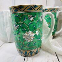 Vintage ETUDE 4 Takahashi San Francisco Green BlueFloral  Coffee Mugs UNUSED