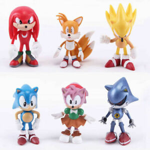Sonic The Hedgehog Mephiles Knuckles Amy Tails 6 PCS Action Figure Kids Toy Gift