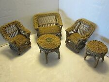 "Antique Doll House Furniture 5 Pc set Wicker 9¾"" Love seat chairs tables Rattan"