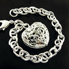 S/F Solid Filigree Antique Heart Charm Bracelet Bangle Real 925 Sterling Silver