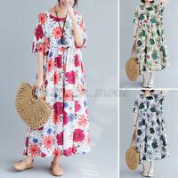 Women Summer Bohemia Short Sleeve Printed Sundress Loose Baggy Kaftan Midi Dress