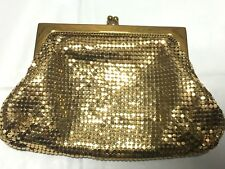 "Vintage Whiting & Davis Gold Mesh Bag Small 6"" X 4"" 1940s"