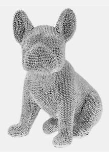 Silver art sparkly french bulldog frenchie ornament statue figurine present gift