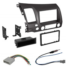 Car Radio Stereo Single 2 Din Taupe Dash Kit Harness for 2006-2011 Honda Civic