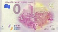 BILLET 0  EURO VILLAGE DE MONTPEYROUX FRANCE 2018 NUMERO DIVERS