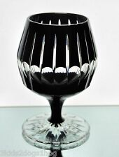 Faberge Black Onyx Cut to Clear Cased Crystal Brandy Snifter Cognac New Signed