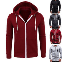 Mens Plain Hoodie Casual Hooded Zip Up Jacket Men Warm Sweatshirt Tops Outwear