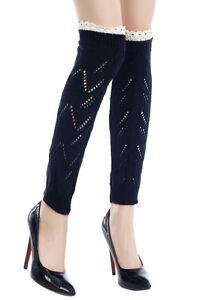 Legwarmers Leg Covers Zig Zag Knit Crochet Top Yelete Womens
