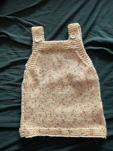 New Hand Knitted Baby Girls Pinafore Dress 0-3 Months
