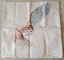 "Beautiful Gliding Barn Owl Linen Throw Pillow Cover 18"" US Seller"