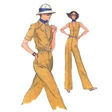 Vtg 70s Vogue 9218 Misses V-Neck Zip Jumpsuit S/S Jacket Mod Safari 8 31.5 B FF