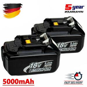 2X Für Makita BL1850 Lithium Original 5.0Ah Akku 18V Max LXT400 BL1830 BL1860 DE
