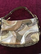 Coach F14005 CARLY Brown & Gold Logo Patchwork Tote Purse Shoulder Bag Satchel