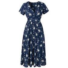 Women's V Neck Floral Chiffon Short Sleeve Casual Party Vintage Boho Maxi Dress