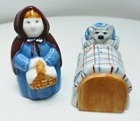 Little Red Riding Hood Ceramic Salt & Pepper Shakers Vintage (20126)
