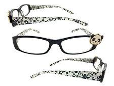 Panda Bear Reading Glasses, +1.75 Readers, Eyeglasses, Black and White Flowers