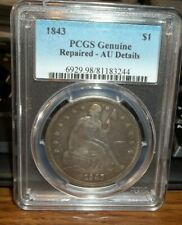 1843 $1 Seated Liberty Silver Dollar PCGS AU Detail Repaired #CW12